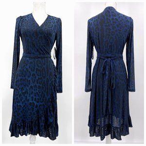 Scoop Blue Black Animal Print Mesh Wrap Dress